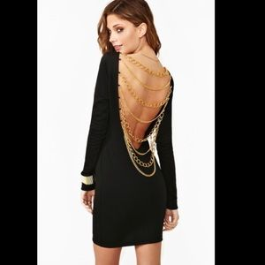 Nasty Gal black gold chains backless mini dress